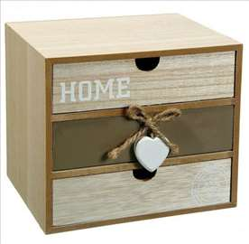 Ukrasna drvena kutija sa fiokama 20x15x18 cm
