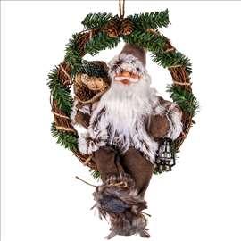 Novogodišnji ukrasni drveni venac - Deda Mraz 36cm