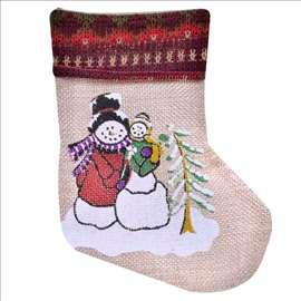 Ukrasna novogodišnja čarapa Sneško - 15cm