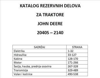 John Deere 2040S-2140 Katalog delova