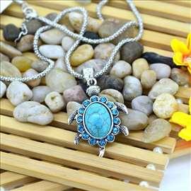 KORNJAČA - ogrlica sa tirkizom i cirkonima