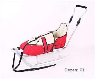 Sanke za decu sa toplom zimskom vrećom crvene boje