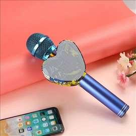 Mikrofon karaoke bluetooth Q5 Led mikrofon
