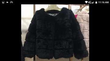 Nova Kratki bunda zec,crna M,L