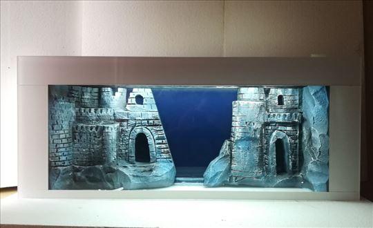 Plazma akvarijum sa 3D pozadinom beli