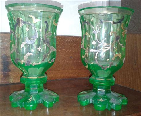 Dve antik zelene vaze sa duplom pozlatom