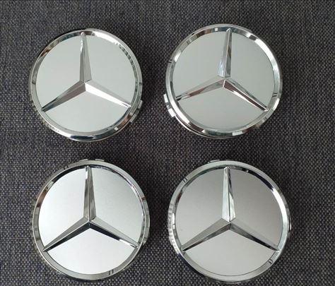 Mercedes 75 mm srebrni čepovi za alufelne