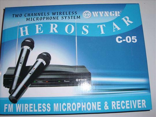 Bežični mikrofoni-2 kom+risiver, novo