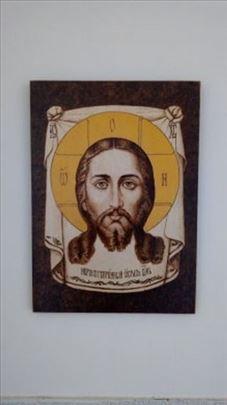 Ikona Gospoda Isusa Hrista -pirografija