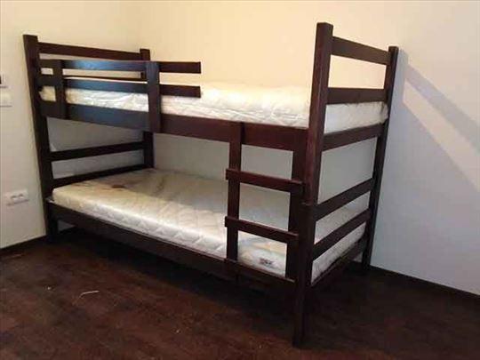 Krevet na sprat wenge + 2 dušeka