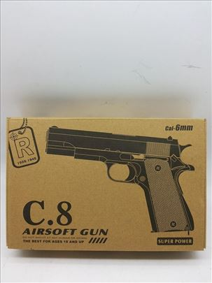 Pištolj metalni na kuglice-Airsoft C.8-Novo-Metal