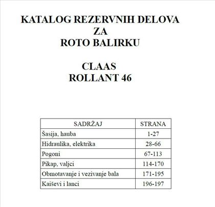 Claas Rollant 46 - Katalog delova