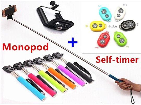 Monopod+držač za mobilni+daljinski