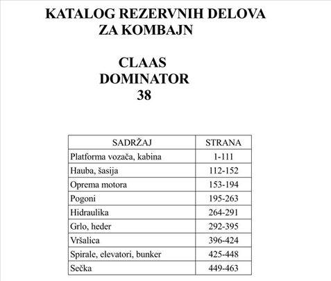 Claas Dominator 38 - Katalog delova