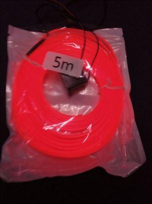 Ukrasna svetleca traka opticko vlakno 5m crvena
