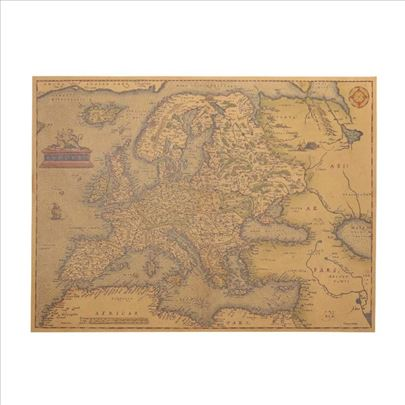 Poster mapa Evrope iz 1570 godine