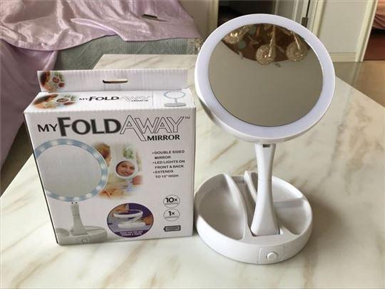 Ogledalo dvostrano sa LED svetlom rasklopljivo