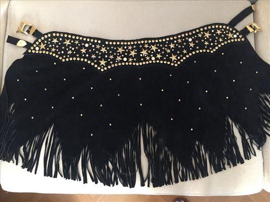 Kaiš - suknja, crna antilop koža sa nitnama i resa