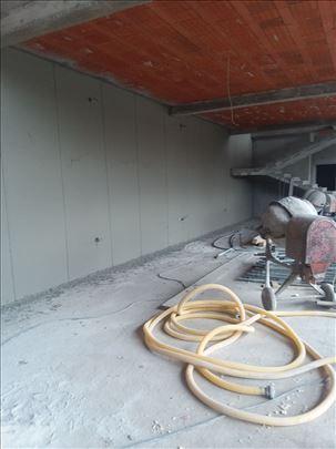 Mašinsko malterisanje fasade gletovanja krečenja