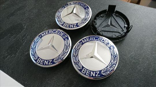 NOVO Mercedes cepovi za felne 75mm TAMNO PLAVI