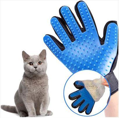 Plava rukavica četka masažer za skupljanje dlaka