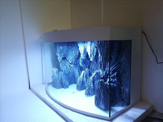 Akvarijum sa ovalnim staklom i 3D pozadinom - Beli