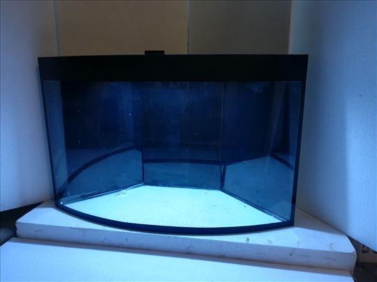Ugaoni akvarijum, sa ovalnim prednjim staklom