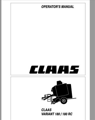 Claas Variant 180 - 180 RC Uputstvo za rukovanje