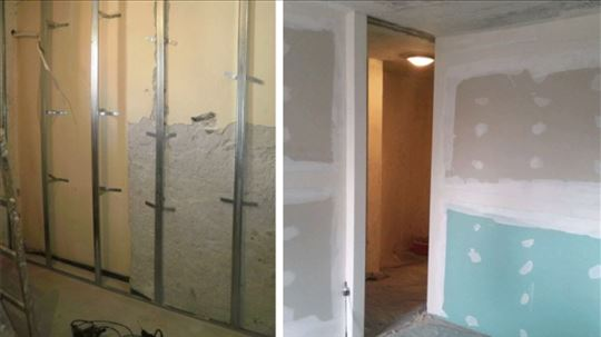 Pregradni zidovi, izolacija, oblaganje zidova