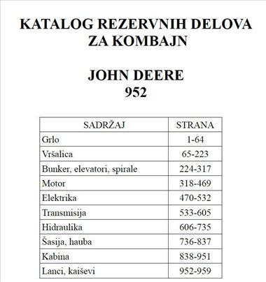 John Deere 952 kombajn - Katalog delova