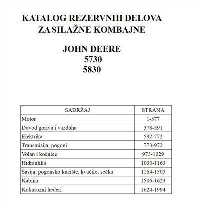 John Deere 5730 - 5830 silažni  - Katalog delova