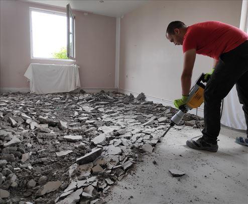 Uklanjanje zidova, pločica, parketa + odvoz šuta!