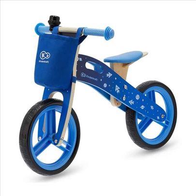 Balans drveni bicikl bez pedala, plavi