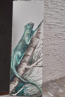 Iguana 2, ulje na platnu, blind ram , 20x60 cm