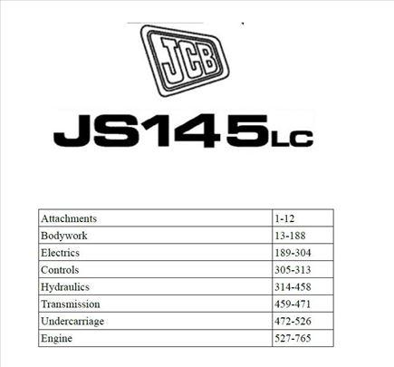 JCB JS 145 LC bager - Katalog delova