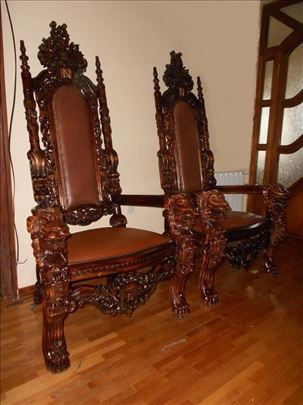 Kraljevska stilska fotelja Tron,rucni rad,novo