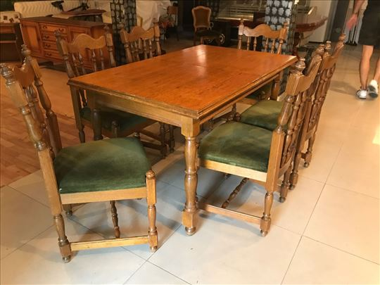 Hrastov sto i 6 stolica