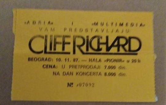 Ulaznica za koncert Klif Ričarda