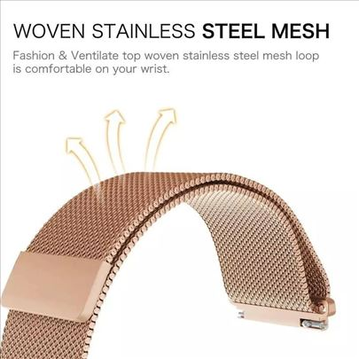 Pink narukvica 22mm (model mesh-pancirna)