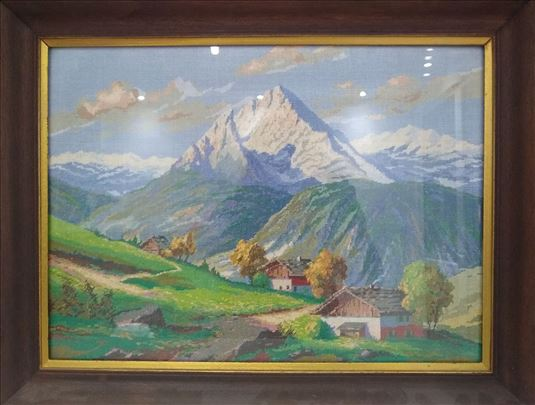 Alpski pejzaž - orginalni Wiehler goblen