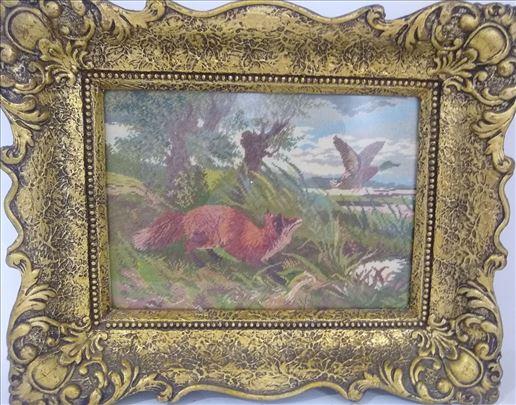 Lisica u lovu na patke - orginalni Wiehler goblen
