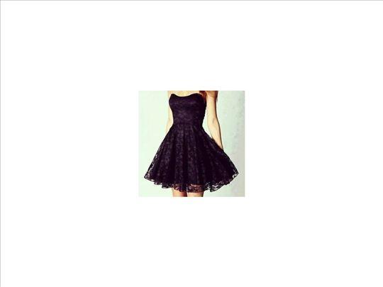 301) Crna čipkanna Push Up haljina
