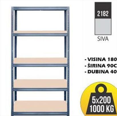 Polica metal-drvo 180x90x40 Siva