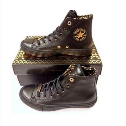 CONVERSE Chuck Taylor black leather gold patike