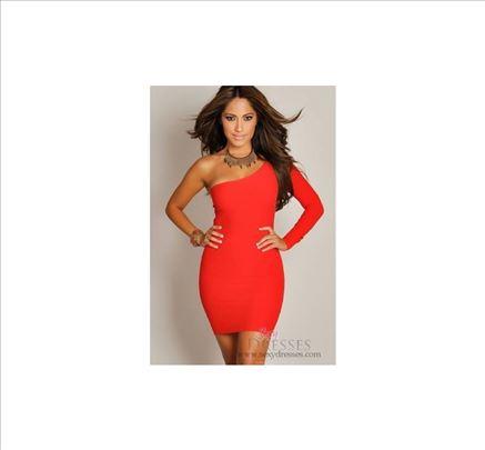 57) Crvena haljina na jedno rame VIŠE BOJA
