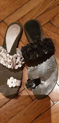 Zara-Kožne papuče sa cvetićima-made in Italy