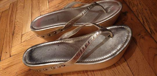 Miu Miu-srebrne papuče-made in Italy