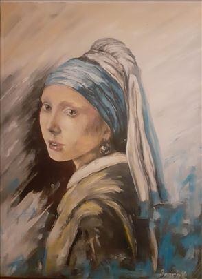 Devojka sa bisernom mindjusom ulje na platnu 60x80