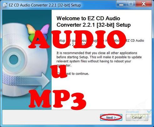 Sačuvajte audio diskove u MP3 formatu
