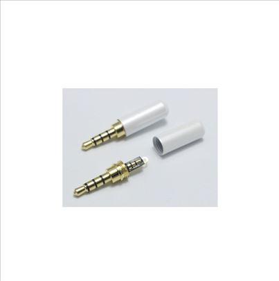 3.5mm stereo muški džek bele boje (četiri pola)